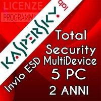 Kaspersky Total security 2019 5 PC Windows o Mac  2 Anni ESD