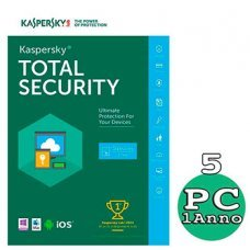 Kaspersky Total security 2018 - 5 Pc Windows o Mac - 1 Anno immagine