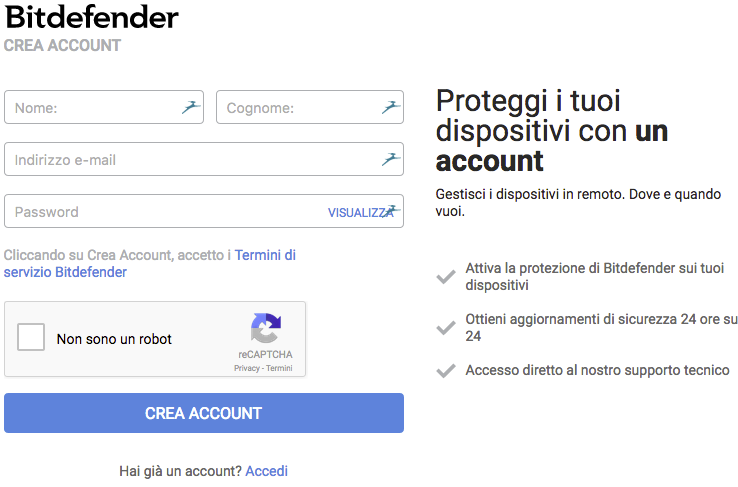 creare un account su central.bitdefender.com